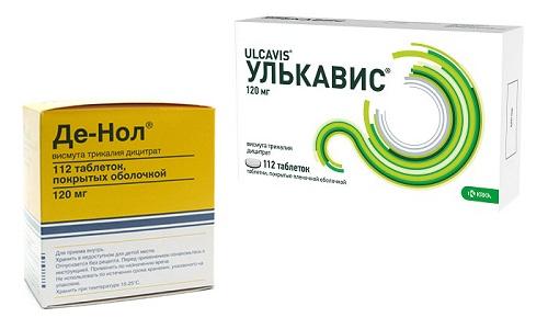 Для лечения гастрита или язвы могут использоваться препараты Улькавис или Де-Нол