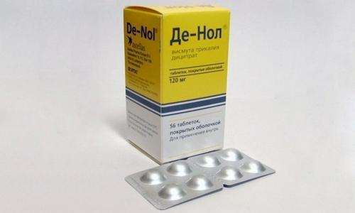 Омепразол дополняют препаратом Де-нол для защиты и заживления слизистых желудка