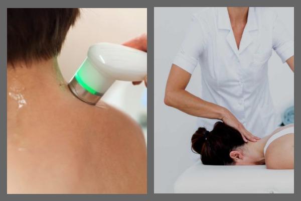 Ультразвуковой фонофорез (слева), мануальная терапия (справа)