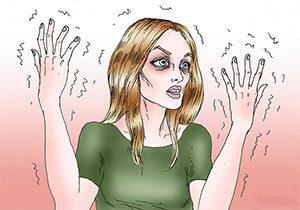 рисунок женщины с дрожащими руками