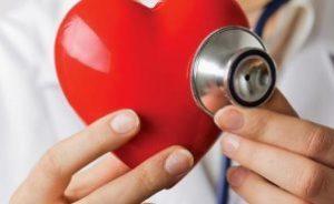 врач приложил стетоскоп к макету сердца