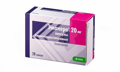 Препарат Эманера, который используют при язве желудка и двенадцатиперстной кишки, стоит от 250 до 400 руб