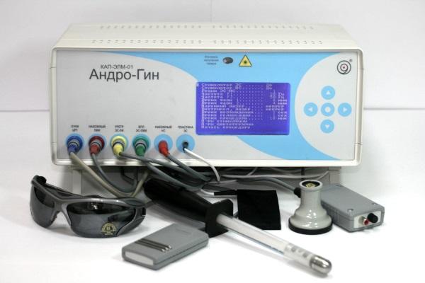 Андро-Гин обеспечивает воздействие лазера, магнитного поля, электрических токов, световых волн