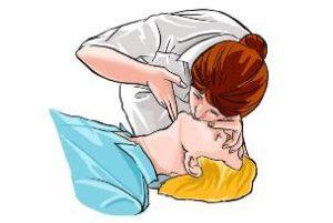 женщина делает искусственное дыхание рисунок