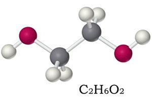 формула и молекула этиленгликоля