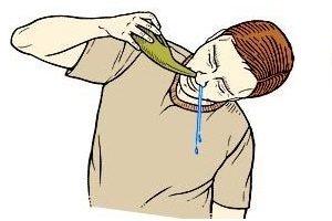 человек промывает нос, рисунок